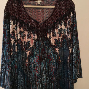 Ladies tunic turquoise and brown sz 22/24